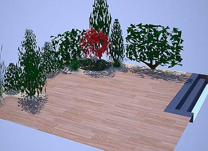plan 3D jardin patio